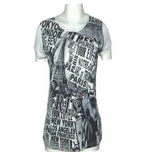 2014 new round neck short sleeve tide printing Eiffel Tower T-shirt printing