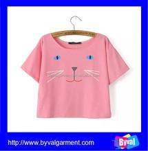 Womens Cotton Pink Short Sleeve Printed Custom Crop Top OEM