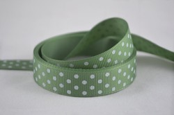 5/8 inch (15mm) Light Sage Green with White Polka Dot Grosgrain Ribbon Satin Ribbon Hair Band webbing