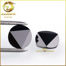 8MM Fancy cut loose round shape CZ gemstone flat black zirconia bead