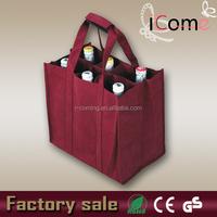 Non woven wine bag/bottle wine bag/non woven 6 bottle wine tote bag(ITEM NO:W150441)