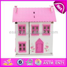 Caliente venta casa de muñecas en miniatura casa, Nueva casa de muñecas en miniatura artesanal casa, Magia de madera juguetes de casa de muñecas, De color rosa mini casa del juguete W06A022