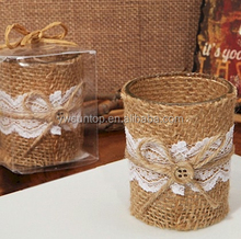 popular Lace and Burlap Rustic Candle Holder table decorations