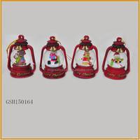 hanging resin led christmas lantern with snow globe