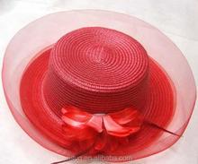high quality English style roll brim flat top fedora formal hat with flower organza