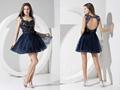 Brillant court. chérie robes courroie de spaghetti broderie mini a- ligne de tulle robe de bal fait sur mesure robe de bal