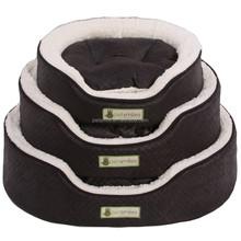 oval imitation leather foam pet bed