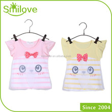 Stock sale summer 2015 eco-friendly lovely cotton kids clothes summer baby girl t shirt