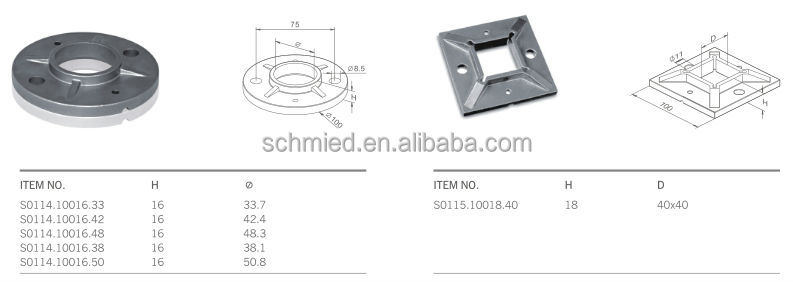Floor mounting railing base plate and cover stainless