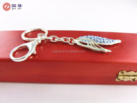 Wholesale novelty wing of the butterfly with crystal keychain/ keyring/ key finder