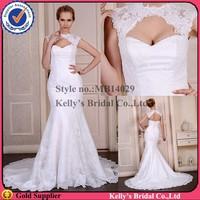MB14029 sexy low cut mermaid zipper and button back wedding dress