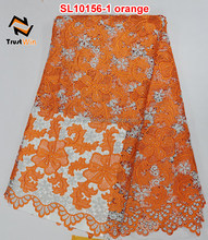 high quality nigerian cord lace fabric 2015 SL10156 Orange
