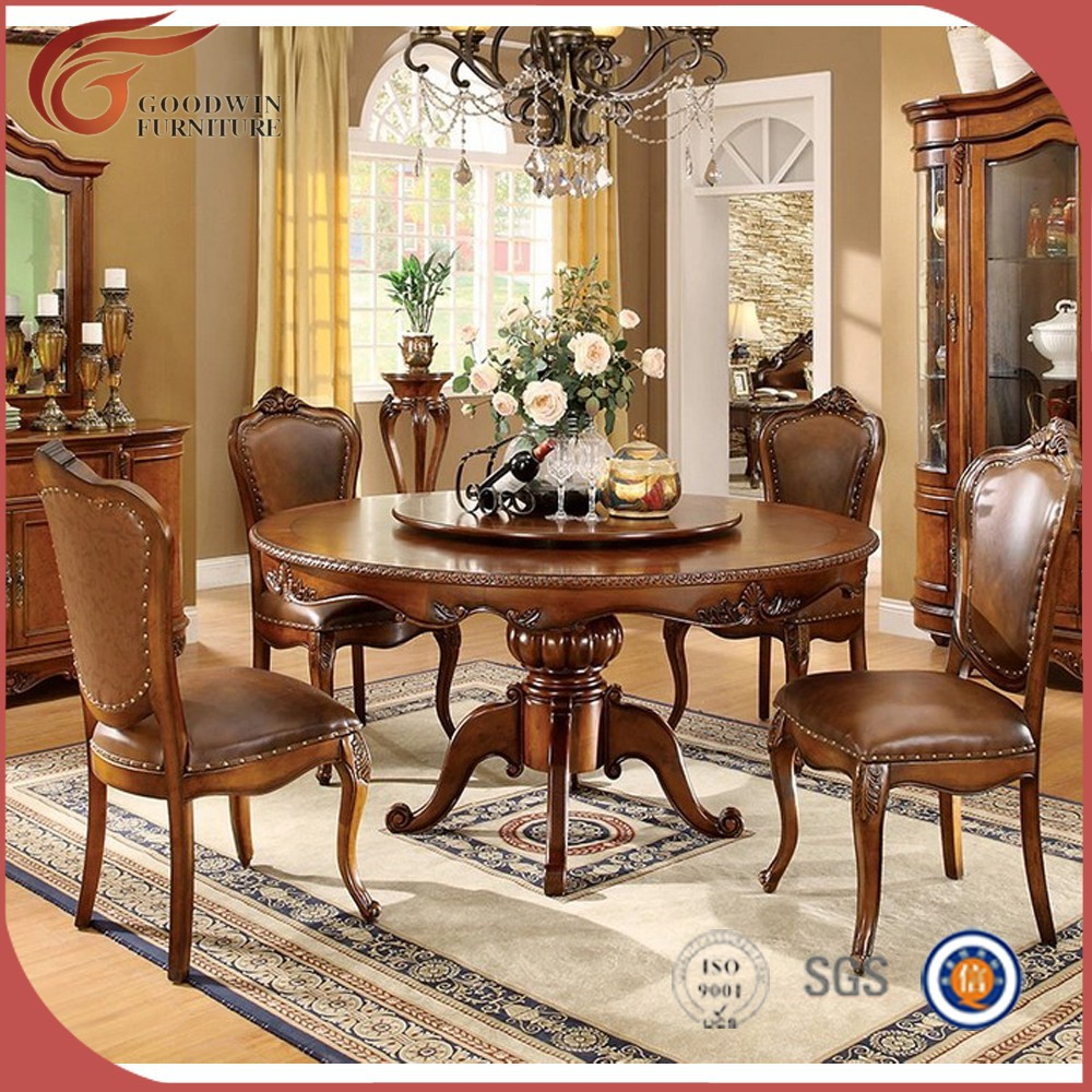 Classic luxury wooden round table dining room set buy Luxury wood furniture