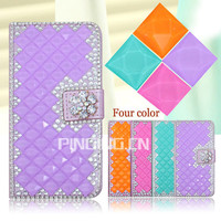 Luxury crystal rhinestone diamond flip stand wallet leather cover for samsung galaxy grand on g550 bling bling case