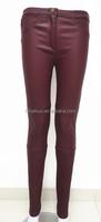 2015 elegant fashion ladies tight black stretch leather pants wholesale leather leggings