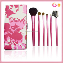 2015 shiny pink personalized 6pcs makeup brush set with contrast color case
