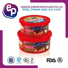 round good sale eco-friendly material food grade container 800ml or 500ml plastic chocolate box