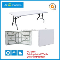 6 feet HDPE white foldable table,simple 8 seater folding table
