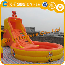 Commercial mouse inflatable slide, inflatable slide with pool ,orange inflatable with basketball hoop