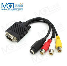VGA to S-Video RCA AV Coaxial Composite Adapter Converter Cable
