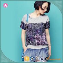 Fashion casual custom girls digtal printed tshirt, short sleeve cotton tshirt