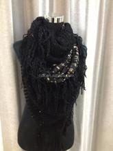 Fashion ladies wholesale tube scarf with golden stripes