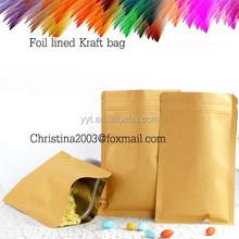 custom brown paper food packaging foil lined bags