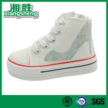 2015 fashion high heel shoes diamond lady shoes white canvas casual shoes