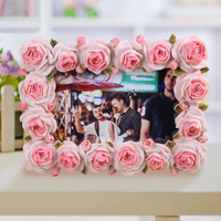 2015 high quality wedding anniversary photo frame decoration polyresin hand carving rose photograph frame BY001