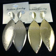 3.25&quot Gold &amp Silver Lightweight Earring Brushed Finish