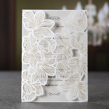 New Ideas 2016 Luxurious Laser White Graduation Invitation Cards with Butterfly