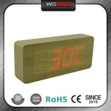 Promotional Customized Oem Wooden Antique Car Thermometer Clock