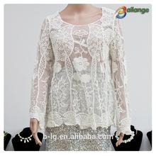 dama& tapas tipo de producto blusa de encaje de moda nuevos huecos a cabo soluble en agua de la blusa de encaje