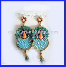 peacock earrings 2012 for girls with beads, earrings,new models earrings