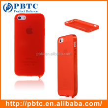 Set Screen Protector And Case For Iphone 5 , Red Silicone Mobile Case