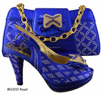 New arrival MS3112 royal african style shoes and matching bag ladies evening shoes and matching bags for party