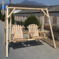 outdoor wooden two seat patio swing