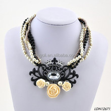 Flower Rose Decorate Necklace Muliti Beaded Chain Necklace Floral beautiful Statement Necklace
