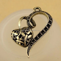 Antique Bronze double Heart shaped charms hollow heart charm pendant DPC015