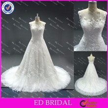 LN10 2016 China Supplier Reliable Manufacture Guipure Lace See Through Back Real Sample Wedding Dress