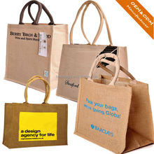 Wholesale customized logo handled jute gunny packaging bag/recyclable burlap sack