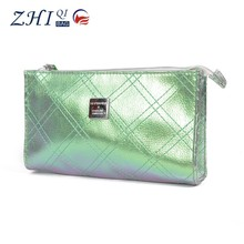 Hot selling Shiny Green Graduated Color PU Cosmetic Bag fashion travel wash bags for woman