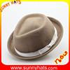 SN-1482 wholesale black fedora hat with white band