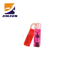 2015 hot sale plastic customized red wine gift handle bags