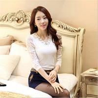 AR064 full sleeve V-neck office wear tops beaded ladies white korean lace blouses
