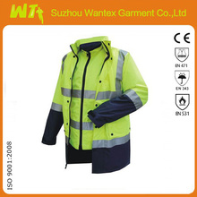 yellow and black High visibility softshell traffic reflective safety jacket