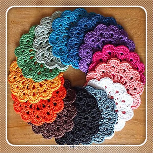 Feitas à mão crochet doily toalha de estilos diferentes de diferentes Placemat cor esteira do copo personalizado crochê
