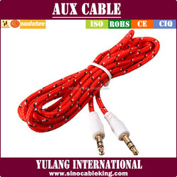Factory Price Male To Male 3.5mm To 3.5mm Aux Audio Cable For Car