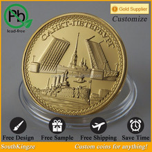 Gold plated iron die casting Asian coin