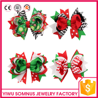 Stock 12pcs/bag Big red grosgrain ribbon kids christmas bow hair clips hair accessories